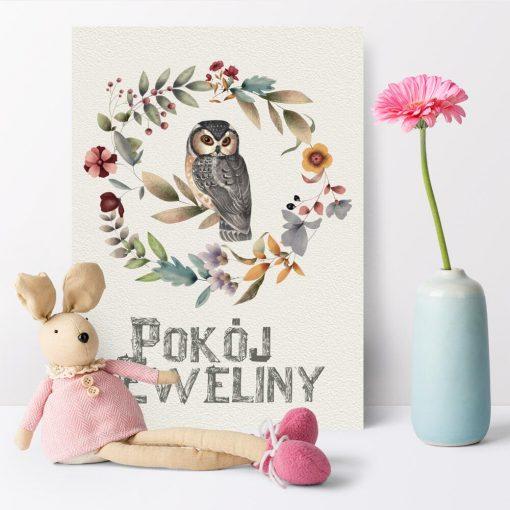 Dziecinny plakat z sową i napisem