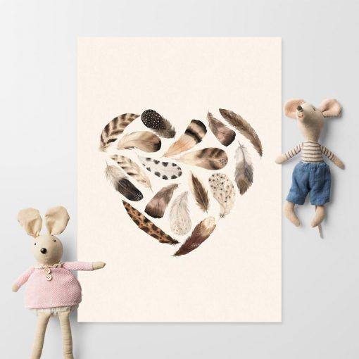 Serduszko z piór - plakat boho dla dziewczynki