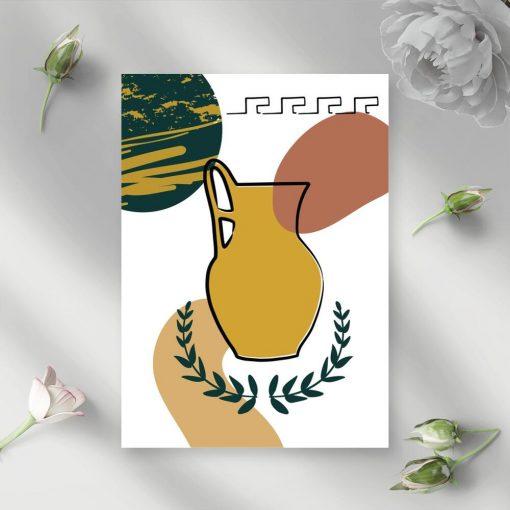 Plakat liście laurowe i dzbanek