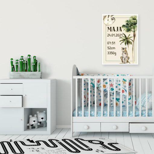 plakaty nad łóżeczko dziecka- palma i gepard