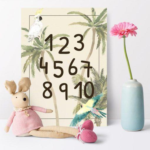 różowo-niebieska papużka na edukacyjnym plakacie dla dzieci