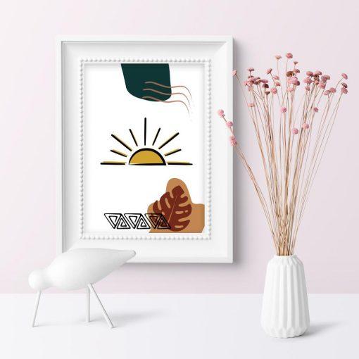 Plakat z ornamentem oraz słońcem