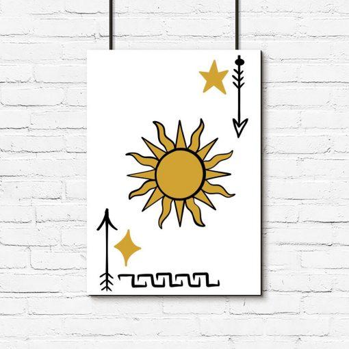 Plakat z elementami słońca i gwiazdy