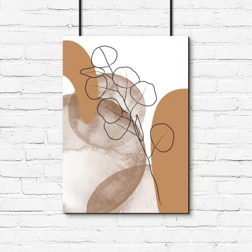 brązowy plakat nowoczesny z listkami