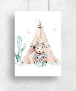 Pastelowy plakat dziecięcy dla dziewczynki