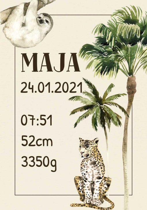 kolorowy plakat z leniwcem i gepardem