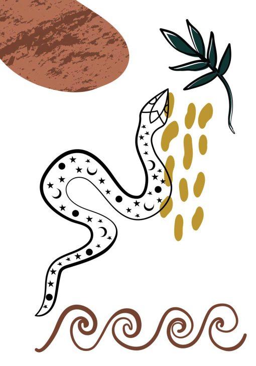 Plakat z kamieniami, wężem i ornamentem
