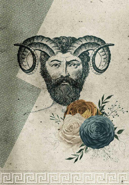 Plakat z motywem mężczyzny z rogami