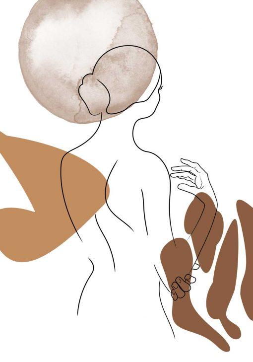 plakat artystyczny z kobietą - line art