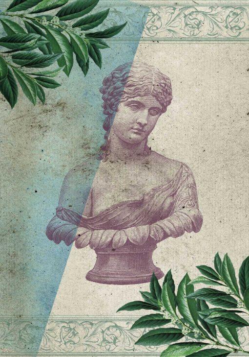 Plakat z starożytną rzeźbą