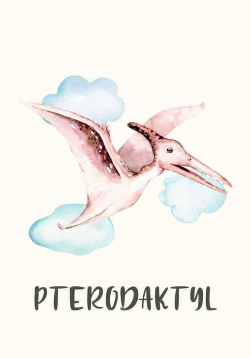 Beżowy dinozaur - plakat na prezent dla dziecka