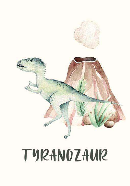 Tyranozaur z wulkanem - plakat dla dzieci