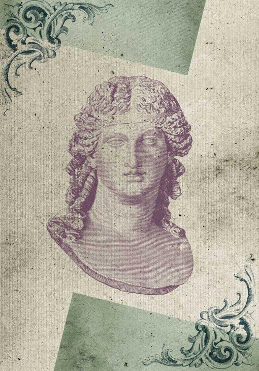 Plakat z marmurowym popiersiem kobiety oraz ornamentem