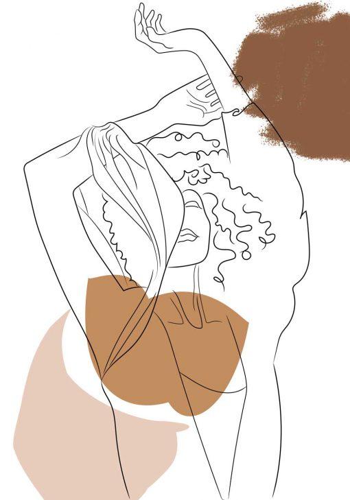 Ultranowoczesny plakat brązowy z kobietą