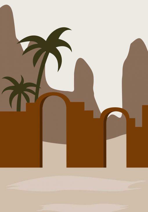 Plakat do gabinetu z artystyczną grafiką i palmą