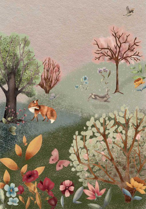 Barwny plakat dla dzieci - Leśna łąka