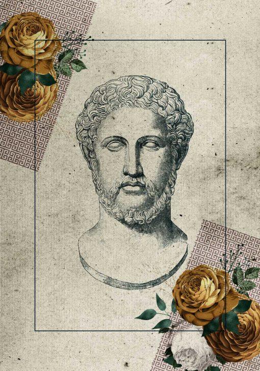 Plakat z głową Greka i kwiatami