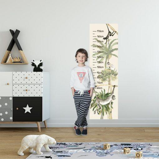 Zielone palmy - Miarka wzrostu do pokoju dziecinnego