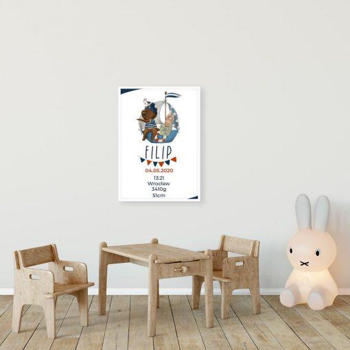 Plakat do pokoju niemowlaka - Metryczka z króliczkiem