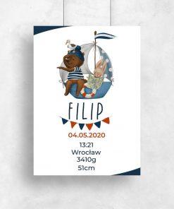 Metryczka z niebieskim statkiem i misiem - Plakat dla dziecka