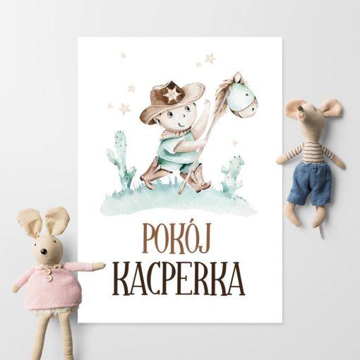 Plakat z imieniem dla chłopca - Kowboj