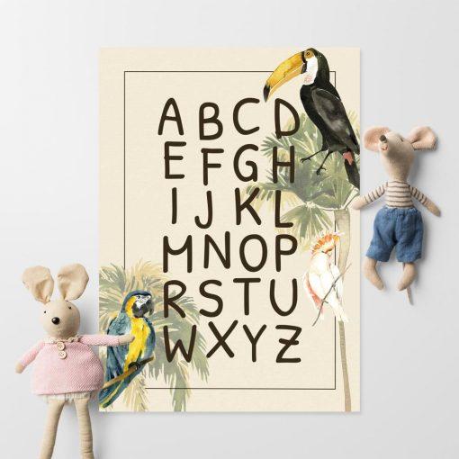 Egzotyczne ptaszki na plakacie do dziecięcego pokoju