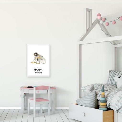 Plakat z małpą dla dzieci