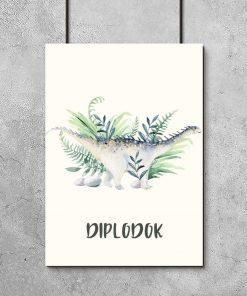 Edukacyjny plakat dziecięcy z dinozaurem