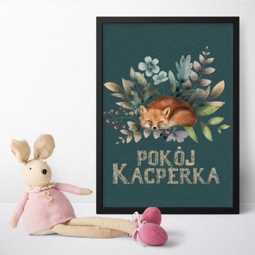 Plakat dla dziecka z napisem pokój Kacperka