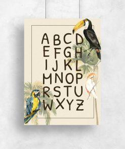 alfabet na barwnym plakacie do pokoju dziecka