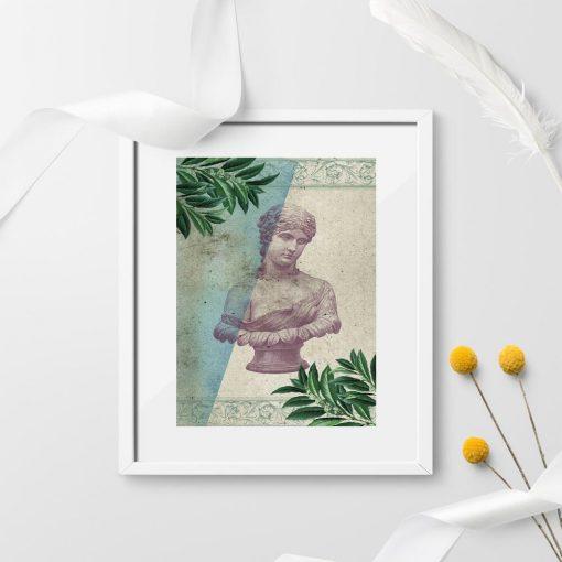 Plakat z zabytkową rzeźbą z Rzymu