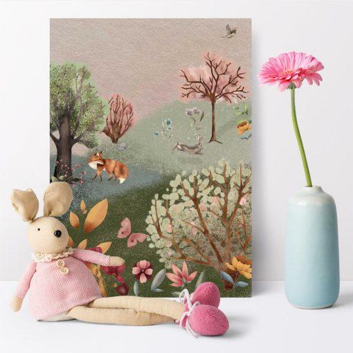 Kolorowy plakat dla dziewczynki - Leśna łąka