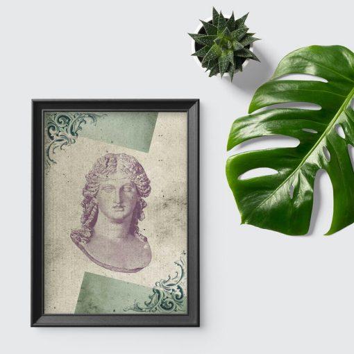 Plakat marmurowe popiersie z liściem akantu
