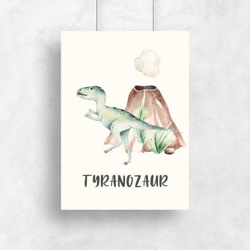 Bajkowy dinozaur - plakat do pokoju dziecięcego