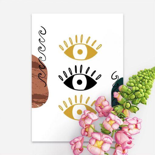 Plakat z oczkami i abstrakcją