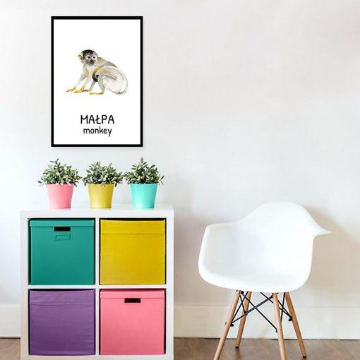 Plakat z małpą na ścianę do pokoju dziecka
