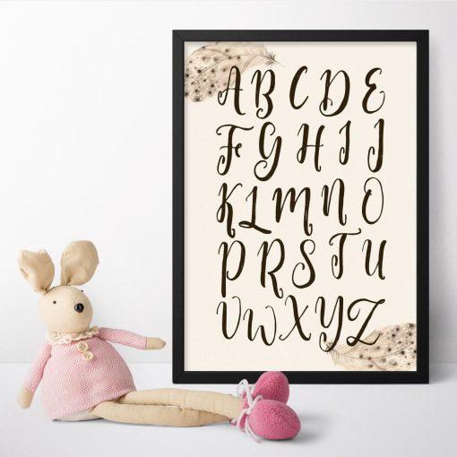 edukacyjny plakat z alfabetem dla maluszków
