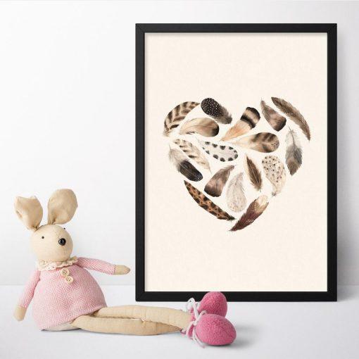 Brązowe serce - Plakat dziecięcy