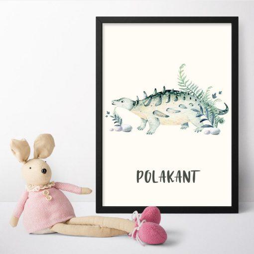 Edukacyjny plakat z dinozaurem dla dzieci