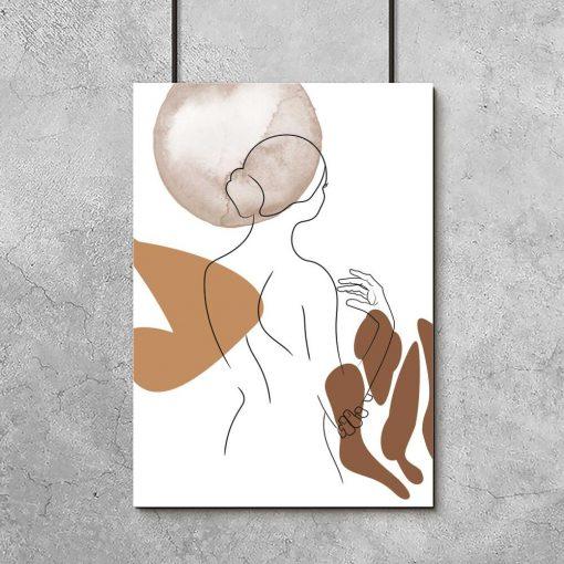 minimalistyczny plakat z kobietą w stylu line art