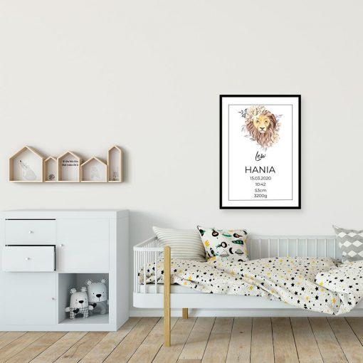 Plakat z metryczką i znakiem zodiaku dla dziecka