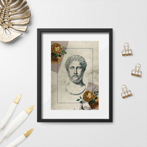 Plakat głowa mężczyzny miedzy kwiatami