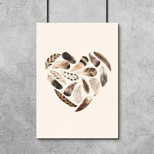 Serce z piór - beżową brązowy plakat dla dziecka