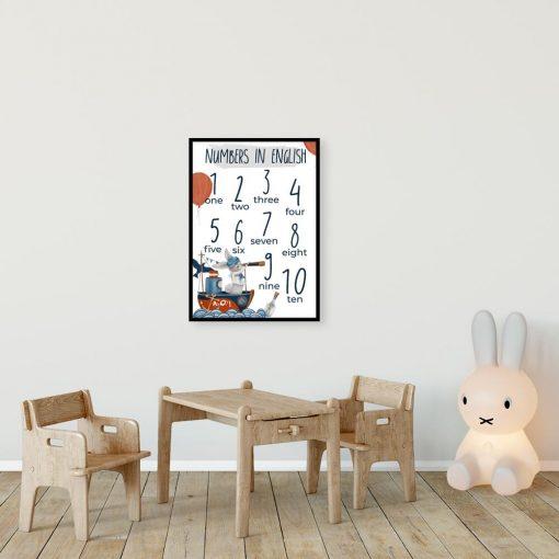 Dydaktyczny plakat z cyferkami dla ucznia