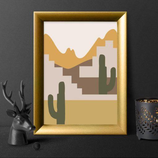 Plakat z motywem kaktusów na pustyni