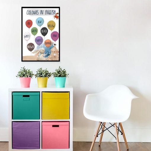 Edukacyjny plakat dla dziewczynki - Colours in English