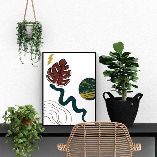 Abstrakcyjny plakat z zieloną planetą