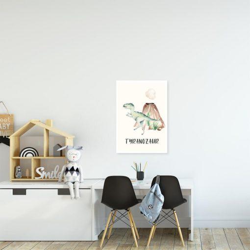 Chłopięcy plakat z motywem dinozaura i wulkanu