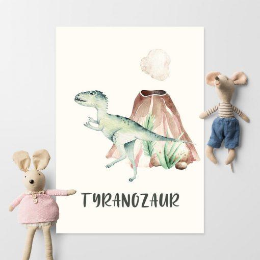 Bajkowy tyranozaur - plakat do pokoju rodzeństwa