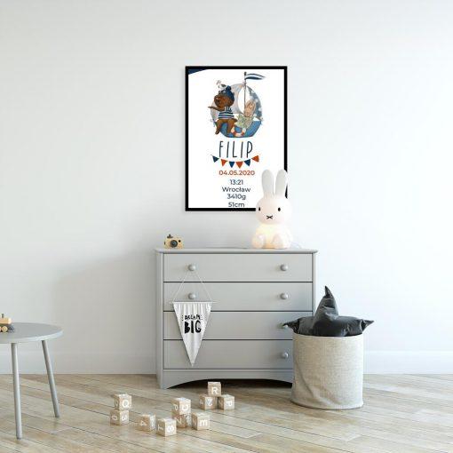 Statek z króliczkiem - Plakat - metryczka do pokoju niemowlaka